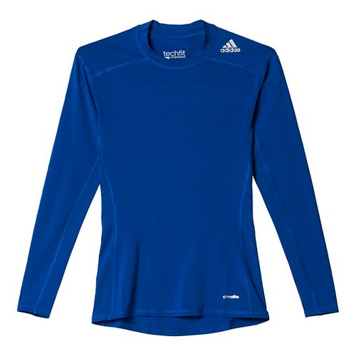 Mens Adidas Techfit Base Layer Long Sleeve Technical Tops - Collegiate Royal L