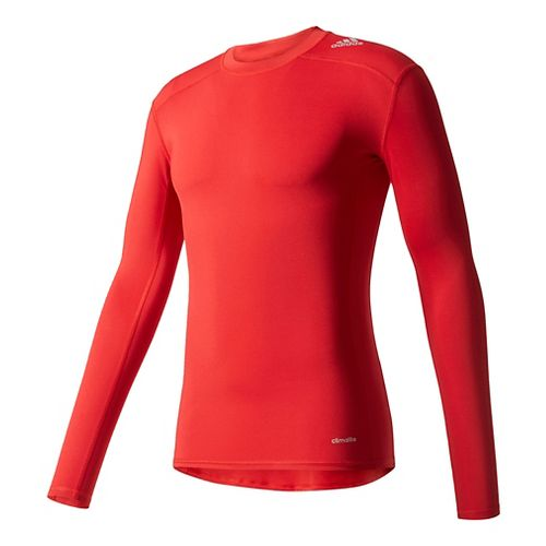 Mens Adidas Techfit LS Base Layer Long Sleeve Technical Tops - Power Red XL