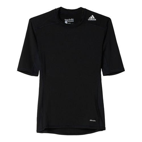 Mens Adidas Techfit Base Layer Short Sleeve Technical Tops - Black S