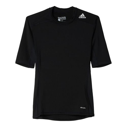 Mens Adidas Techfit SS Base Layer Short Sleeve Technical Tops - Black XL