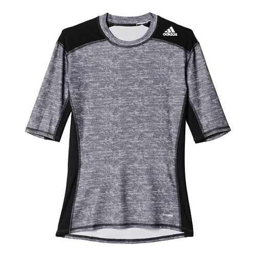 Mens Adidas Techfit SS Base Layer Short Sleeve Technical Tops - Black/Grey S