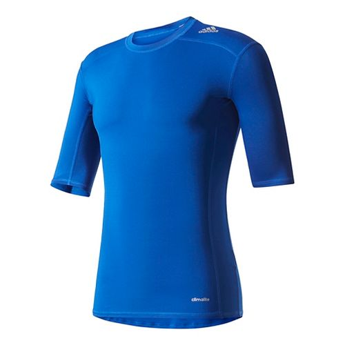 Mens Adidas Techfit SS Base Layer Short Sleeve Technical Tops - Collegiate Royal L