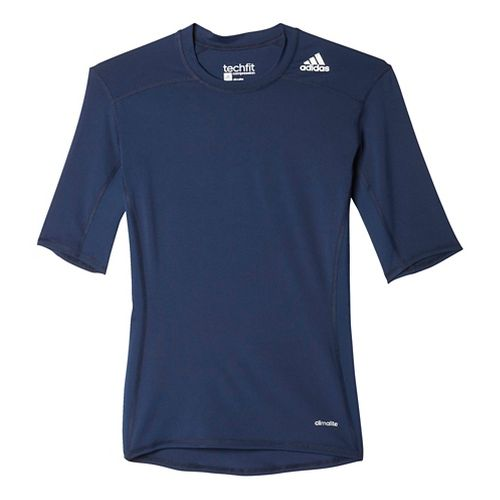 Mens Adidas Techfit Base Layer Short Sleeve Technical Tops - Collegiate Navy M