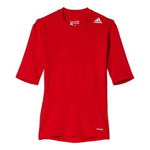 Mens Adidas Techfit Base Layer Short Sleeve Technical Tops - Power Red M