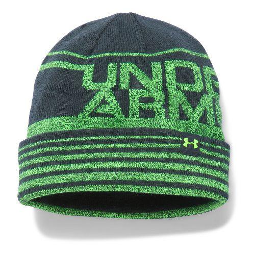Under Armour Boys Cuff Billboard Beanie Headwear - Stealth Grey/Lime