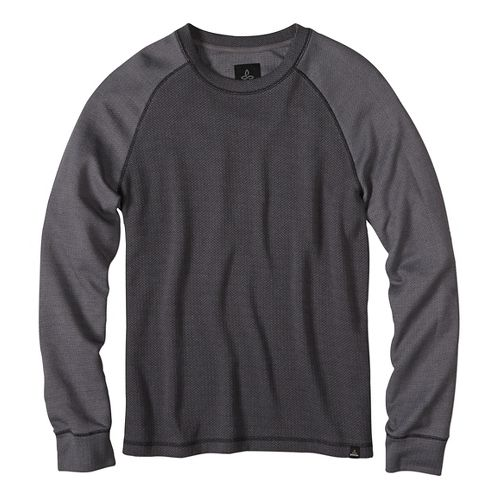 Mens prAna Drifter Crew Long Sleeve Non-Technical Tops - Black S