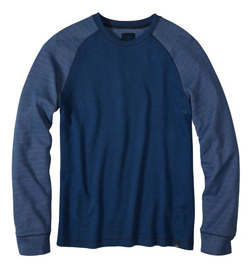 Mens prAna Drifter Crew Long Sleeve Non-Technical Tops - Blue S