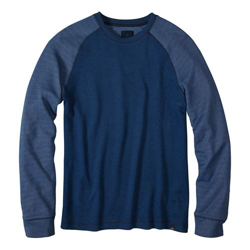 Mens prAna Drifter Crew Long Sleeve Non-Technical Tops - Blue M
