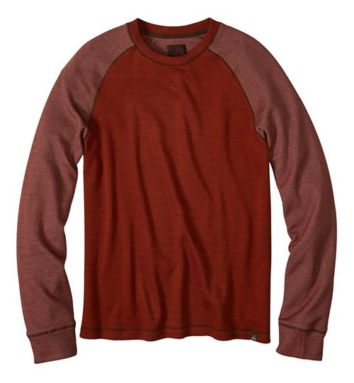 Mens prAna Drifter Crew Long Sleeve Non-Technical Tops - Orange S