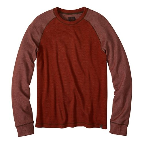 Mens prAna Drifter Crew Long Sleeve Non-Technical Tops - Orange XL