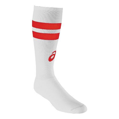 ASICS Old School Striped Knee High 3 Pack Socks - White/Red M