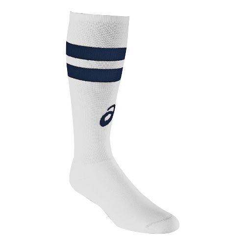 ASICS Old School Striped Knee High 3 Pack Socks - White/Navy M