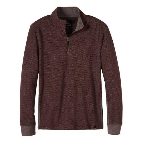 Mens prAna Irwin 1/4 Zip Long Sleeve Non-Technical Tops - Brown L