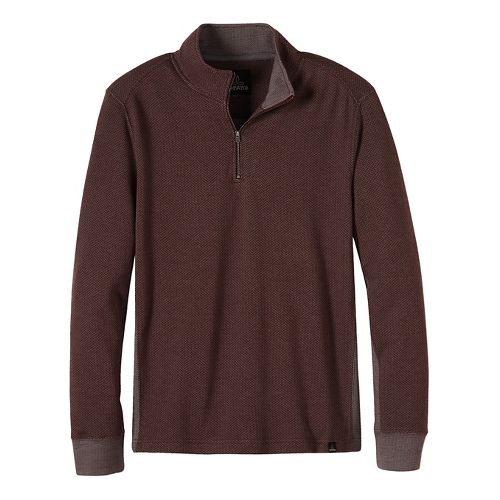 Mens prAna Irwin 1/4 Zip Long Sleeve Non-Technical Tops - Brown S