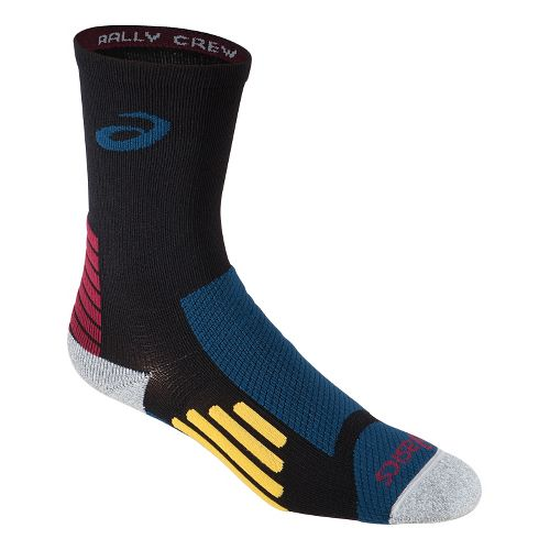 ASICS Rally Crew 3 Pack Socks - Black/Mosaic Blue L