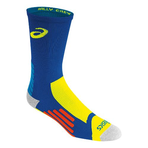 ASICS Rally Crew 3 Pack Socks - Airforce Blue/Yellow M