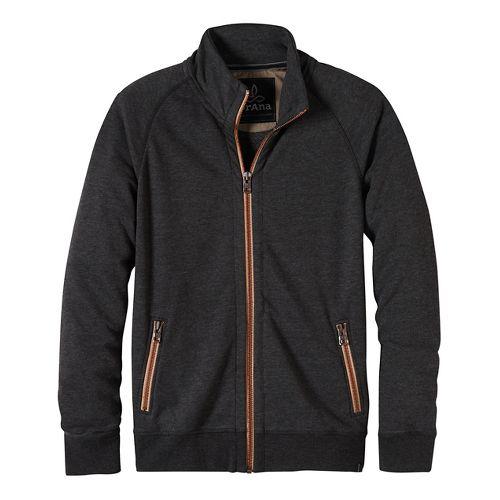 Mens prAna Lifetime Full Zip Mock Half-Zips & Hoodies Non-Technical Tops - Black S