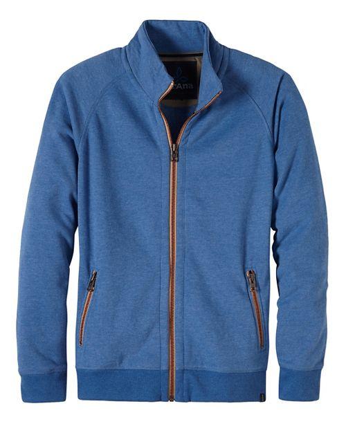 Mens prAna Lifetime Full Zip Mock Half-Zips & Hoodies Non-Technical Tops - Blue M