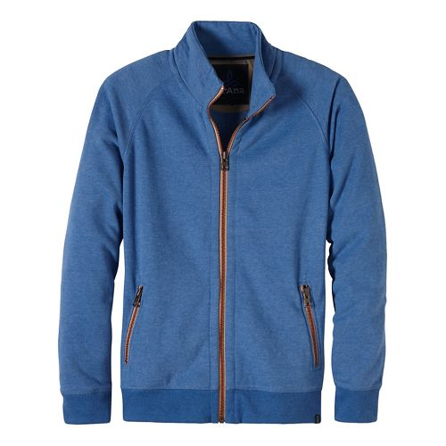 Mens prAna Lifetime Full Zip Mock Half-Zips & Hoodies Non-Technical Tops - Blue L