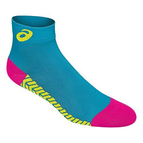 ASICS Snap Down LT Sock 3 Pack Socks - Dark Cyan/Pink Glo L
