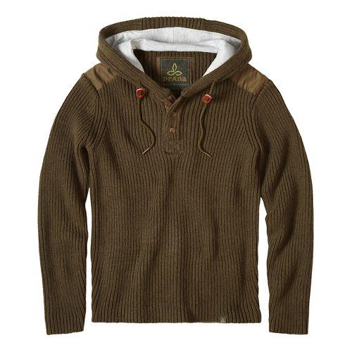prAna Hooded Henley Sweater Half-Zips & Hoodies Non-Technical Tops - Green XL
