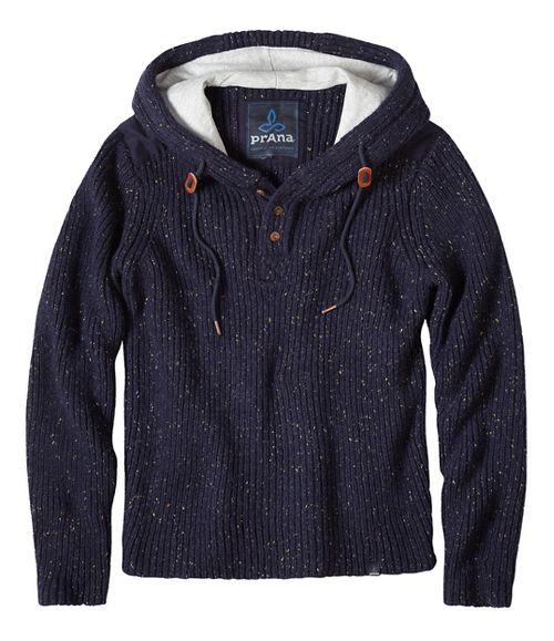 prAna Hooded Henley Sweater Half-Zips & Hoodies Non-Technical Tops - Blue XXL