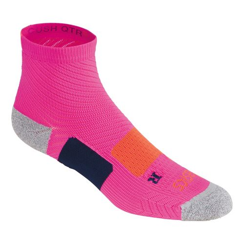 ASICS Structured Cushioning Quarter 3 Pack Socks - Pink Glow/Coral M