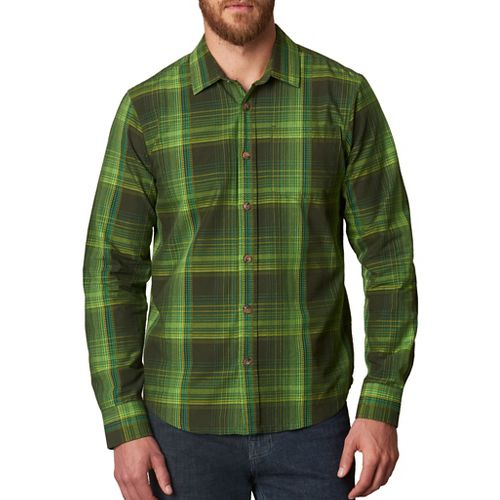 Mens prAna Rennin Long Sleeve Non-Technical Tops - Green XL