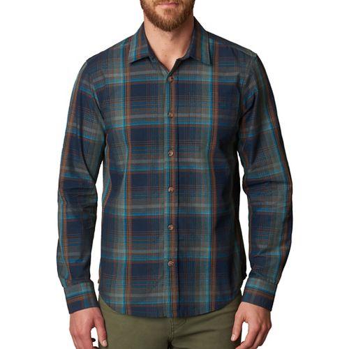 Mens prAna Rennin Long Sleeve Non-Technical Tops - Blue XL