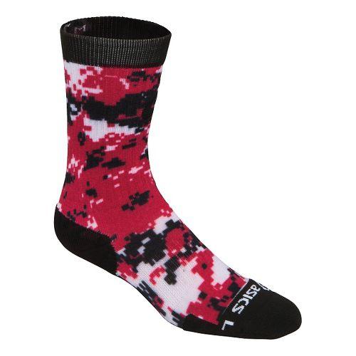 ASICS TM Camo Crew 3 Pack Socks - Black/Red M