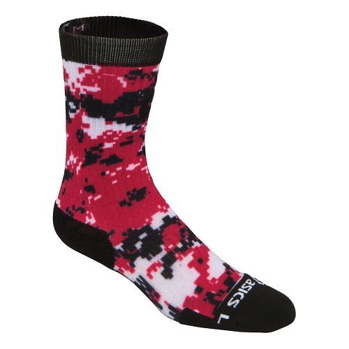 ASICS TM Camo Crew 3 Pack Socks - Black/Red XL