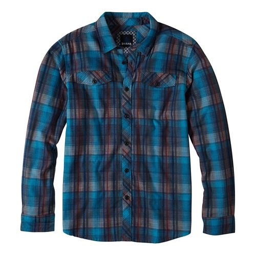 Mens prAna Wessly Long Sleeve Non-Technical Tops - Blue S