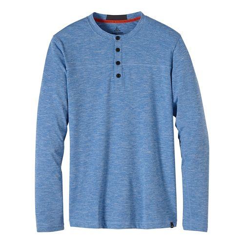 Mens prAna Zylo Henley Long Sleeve Non-Technical Tops - Blue S