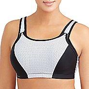 Womens Glamorise Sport Adjustable Wire B/C Sports Bras - White/Black 34C