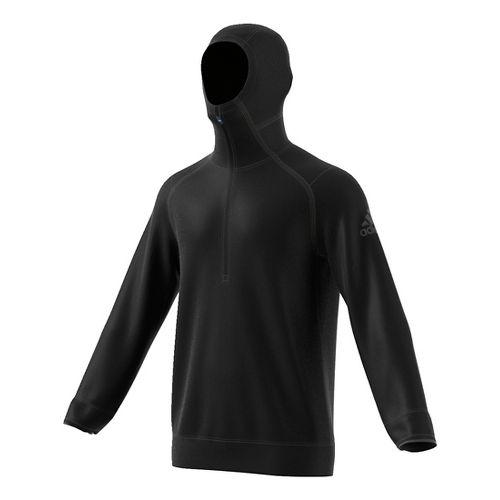 Mens Adidas Climaheat Half-Zip Hoodie Long Sleeve Technical Tops - Black S