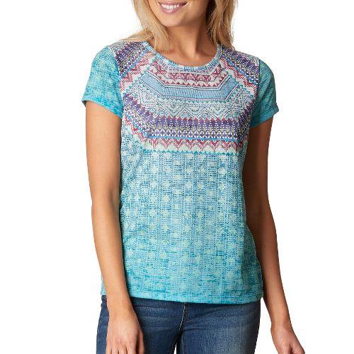 Womens prAna Sansana Top Short Sleeve Non-Technical Tops - Purple XS