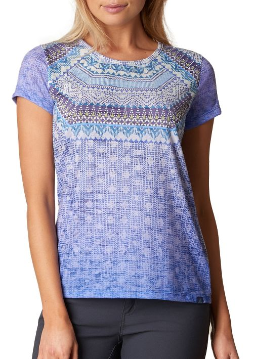 Womens prAna Sansana Top Short Sleeve Non-Technical Tops - Blue M