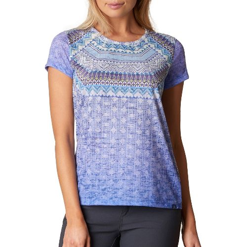 Womens prAna Sansana Top Short Sleeve Non-Technical Tops - Blue L