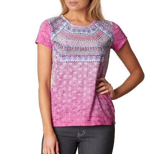 Womens prAna Sansana Top Short Sleeve Non-Technical Tops - Purple L