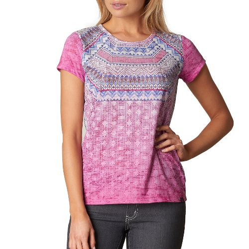 Womens prAna Sansana Top Short Sleeve Non-Technical Tops - Purple S