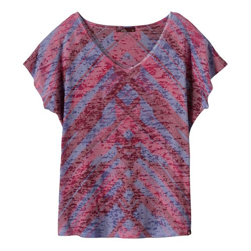 Womens prAna Tabitha Top Short Sleeve Non-Technical Tops - Purple XL