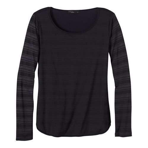 Womens prAna Anelia Long Sleeve Non-Technical Tops - Black L