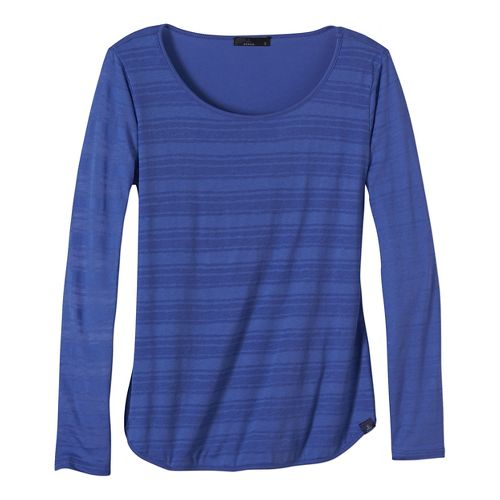 Womens prAna Anelia Long Sleeve Non-Technical Tops - Blue XS