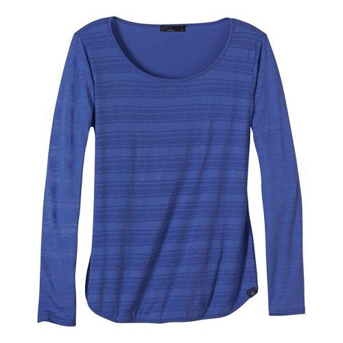 Womens prAna Anelia Long Sleeve Non-Technical Tops - Blue XL