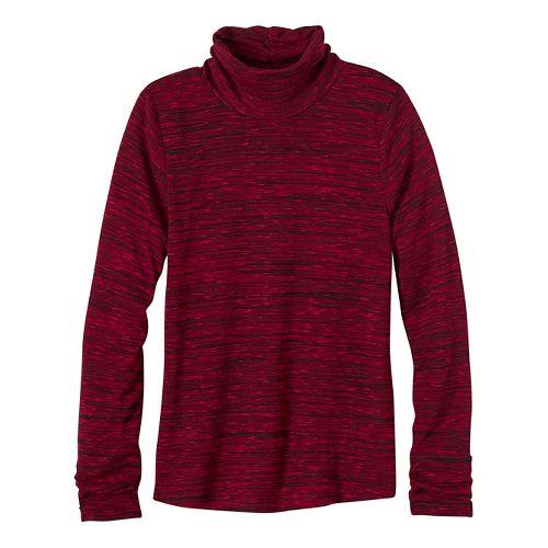 Womens prAna Annina Turtleneck Long Sleeve Non-Technical Tops - Red XL