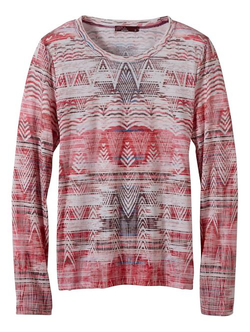 Womens prAna Binx Long Sleeve Non-Technical Tops - Brown L