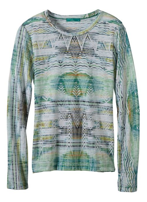 Womens prAna Binx Long Sleeve Non-Technical Tops - Green M