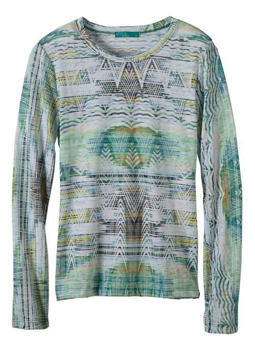 Womens prAna Binx Long Sleeve Non-Technical Tops - Green XL