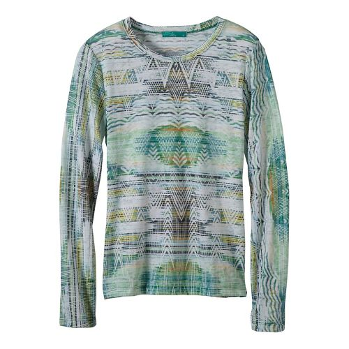 Womens prAna Binx Long Sleeve Non-Technical Tops - Green XL