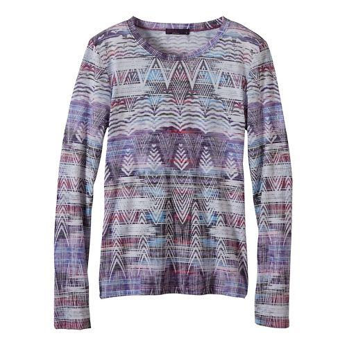 Womens prAna Binx Long Sleeve Non-Technical Tops - Purple XS